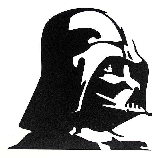 Star wars darth vader profile black vinyl window decal for Darth vader black and white